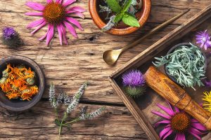 mint, rosemary, coneflower and a few other different flowers, herbs, and plants in a tray and bowl on a wooden table.
