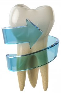 large 3D tooth wrapped in a 3D blue arrow